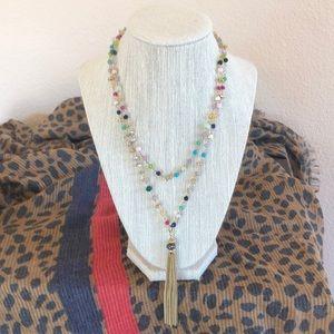 Stella & Dot Multi-Colored Gitane Tassel Necklace